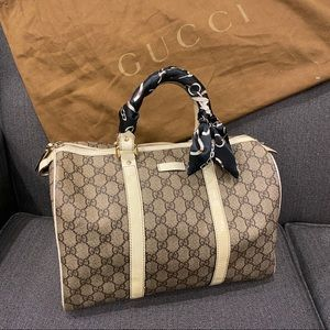 Gucci Ivory Patent Leather Canvas Speedy
